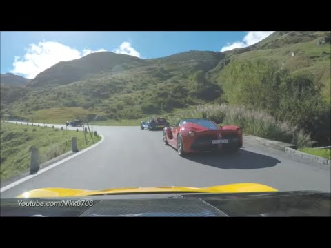 McLaren P1 chases a Ferrari LaFerrari on Furkapass Switzerland
