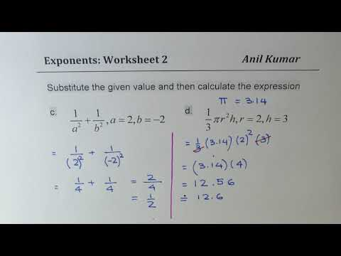 Evaluate Exponents with Given Values Algebra Worksheet 2 - YouTube