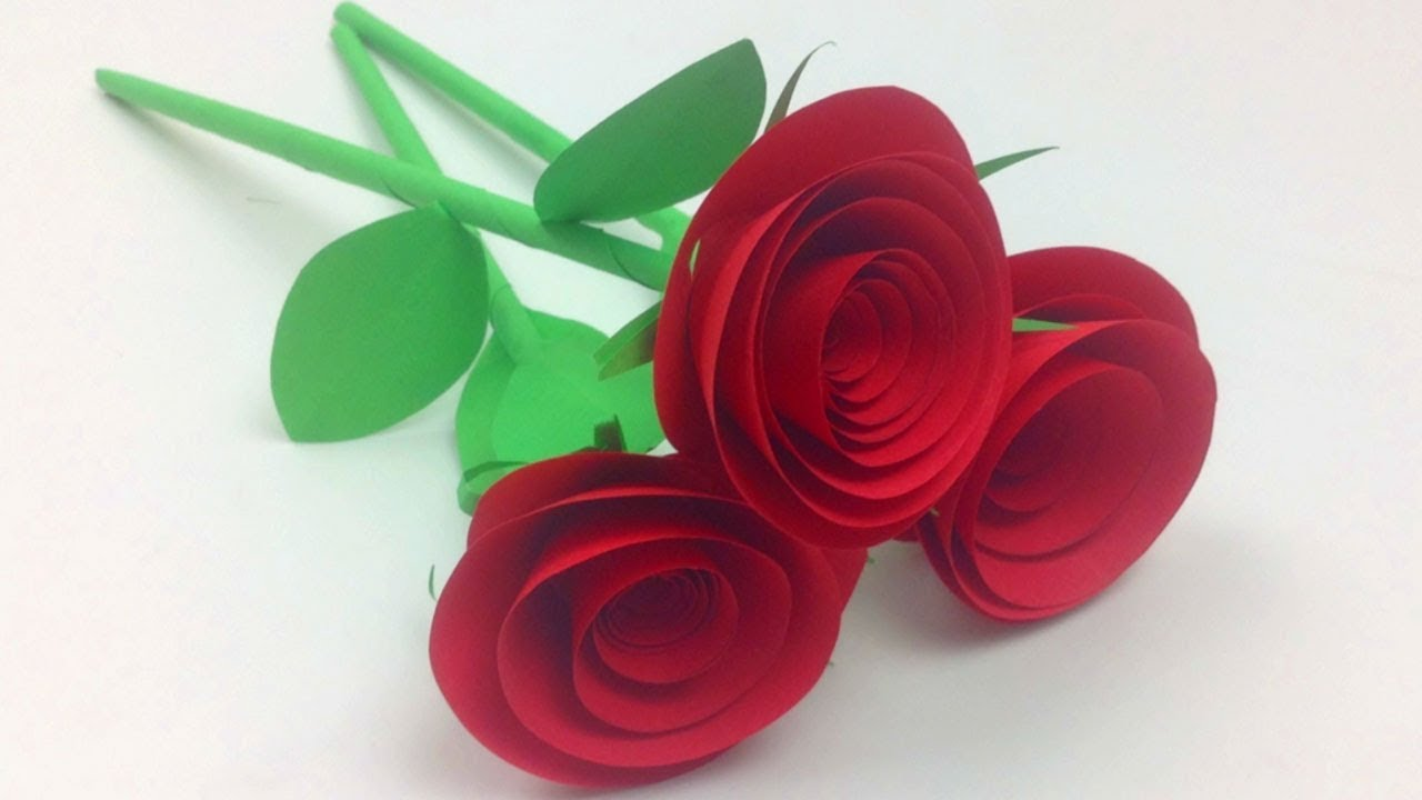 How To Make Small Rose Flower With Paper Easy Paper Roses Flowers Step By Step Diy Rose Of Paper Youtube