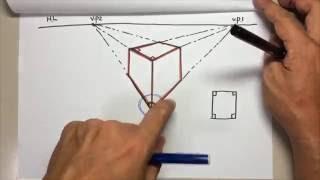 あしげの手描きスケッチパース007(2消点図法の説明)subtitle :  Discription of the 2 vanishing point method.
