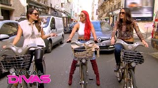 the bella twins and eva marie go for a bike ride in paris total divas april 12 2016