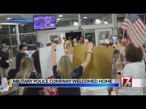 100+ NC National Guard members return home - YouTube