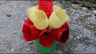 """Portable flower pot from plastic bottle with """"no two"""""""