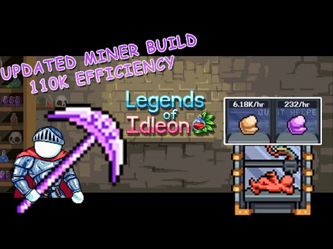 Legends of idleon Miner build update | 110K efficiency mining, 6K/h 3D Printer ores.