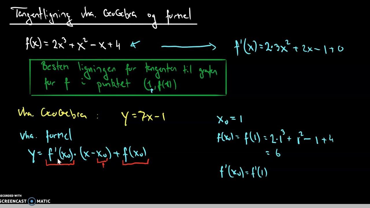 tangentligning vha geogebra og formel