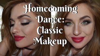 Classic & Elegant Homecoming Dance Makeup Tutorial | Winged Liner & Red Lipstick