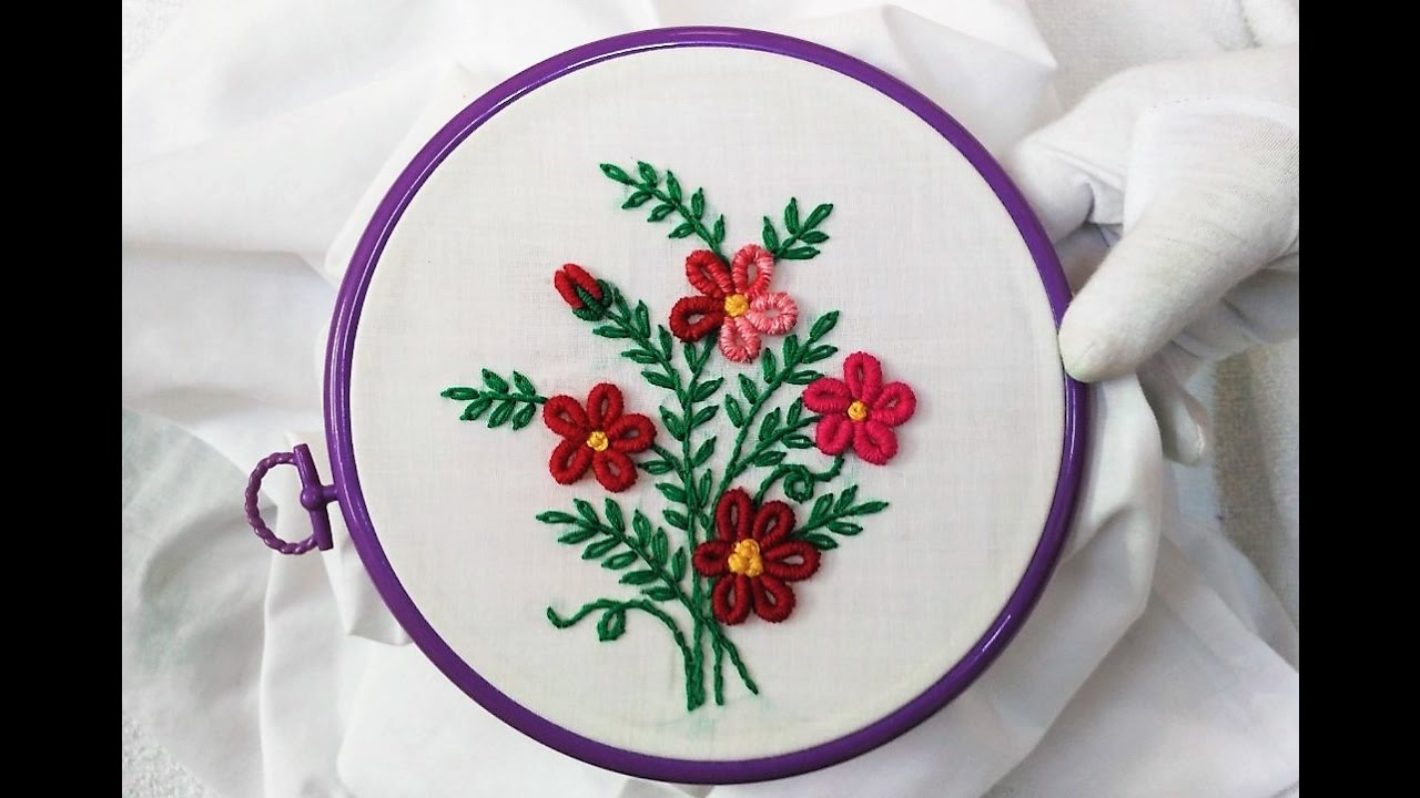 Hand embroidery flowers with brazilian stitch youtube