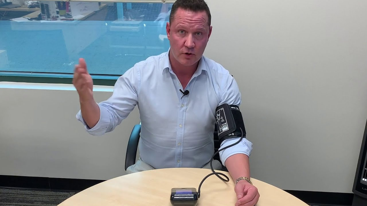 Download Dr. Powell demonstrates a home blood pressure monitor