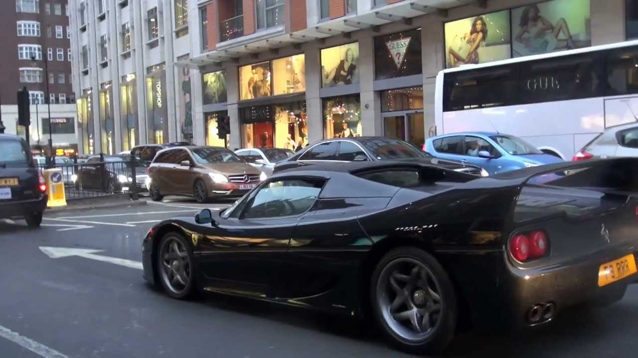 Black ferrari f50 in london start up cruising combos youtube vanachro Image collections