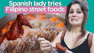 Spanish lady tries Filipino street foods/필리핀 길거리 음식