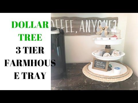 DOLLAR TREE DIY | FARMHOUSE THREE TIERED TRAY | DOLLAR TREE FARMHOUSE DECOR