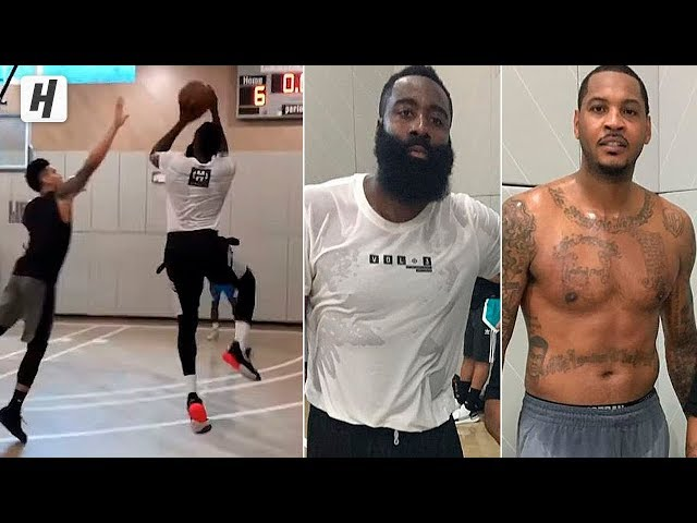 James Harden SHOWING OFF NEW MOVES! Pick Up Games w/ Carmelo Anthony in NYC!