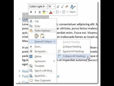 Word 2013 2016 Expand And Collapse Headingssections In Your