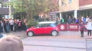 Car blocks tram lines in nottingham
