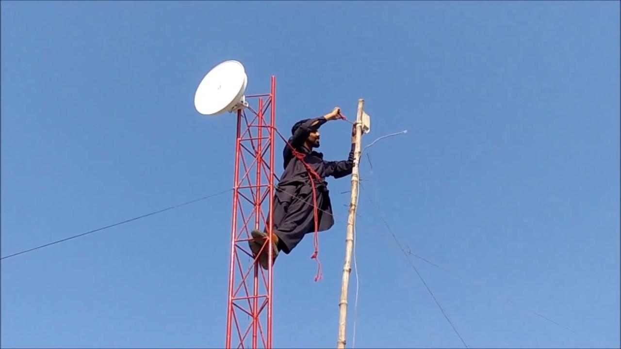 Wifi Tower build,installation,fitting Ubnt Power Beam m400 & Loco m5  (Urdu/Hindi) by Jaura Kalan