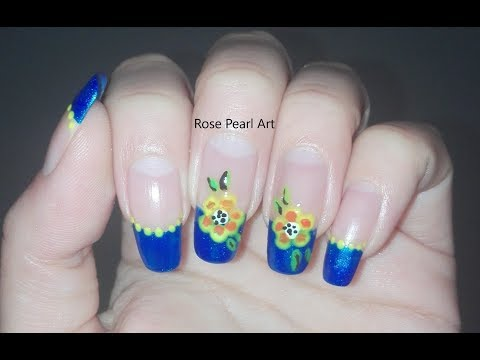 Blue Floral French Manicure- Spring Nail Art Tutorial | Rose Pearl thumbnail