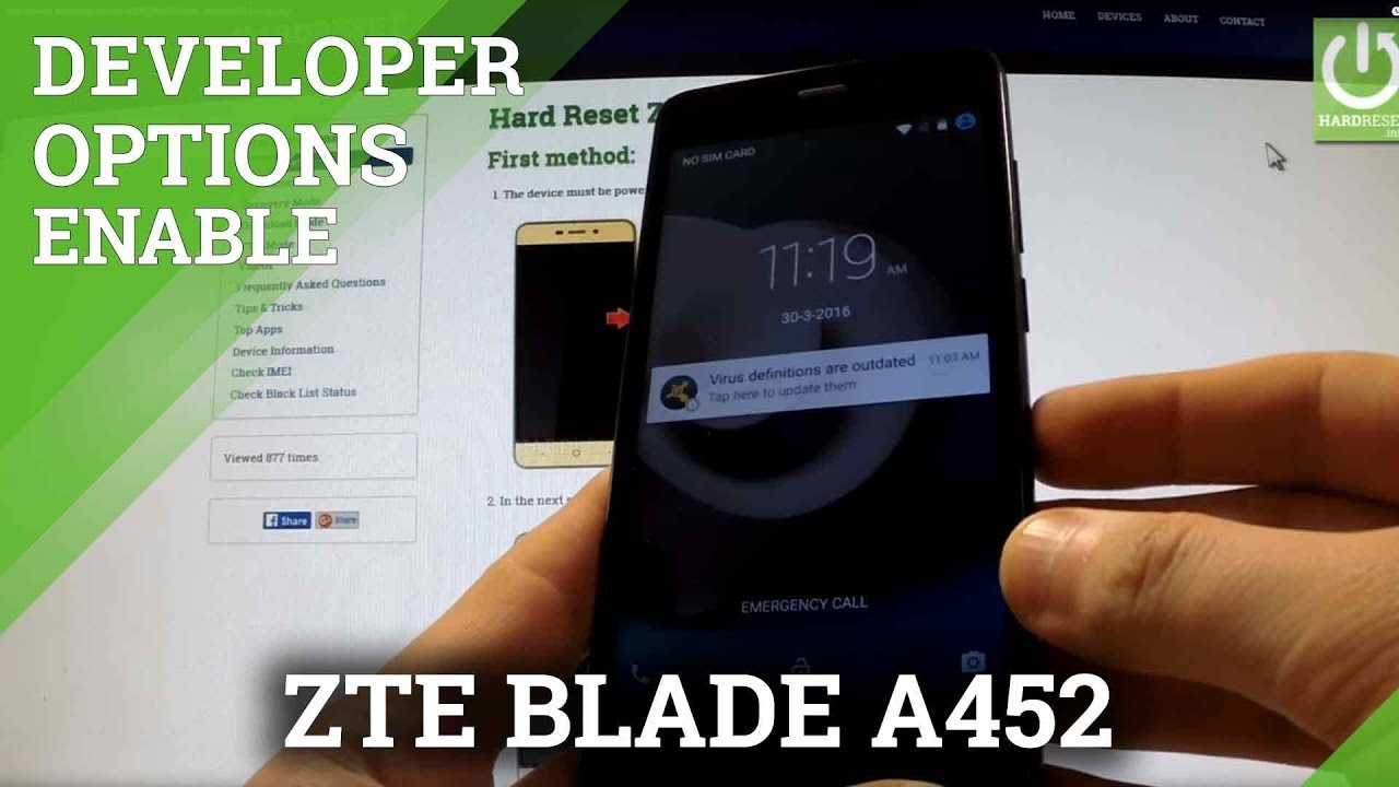 How to enter in Developer Options ZTE BLADE A452 - enable USB Debugging