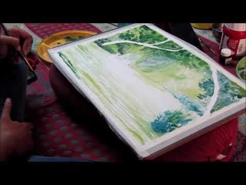 Water colour tutorial painting, step by step landscape by student
