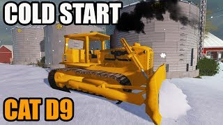 FARMING SIMULATOR 2017 | THE OLD CAT D9.....TRYING TO COLD START + PUSHING SNOW WITH IT