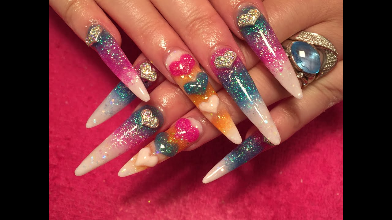 acrylic nails long sculpted stiletto