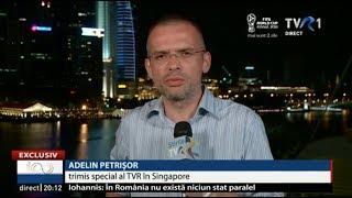 O transmisiune in direct din Singapore, facuta dupa semnarea acordului dintre USA si Coreea de Nord. Directul a fost in principalul Telejurnal al TVR.
