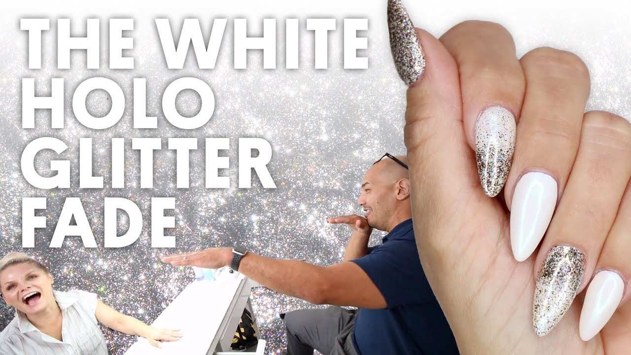The White Holo Glitter Fade Gel Nails Vlog 133 Youtube