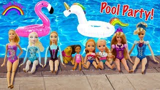 POOL PARTY! ELSA & Anna Toddlers - Barbie Chelsea -Floaties -Splash-Water slide -Pool fun