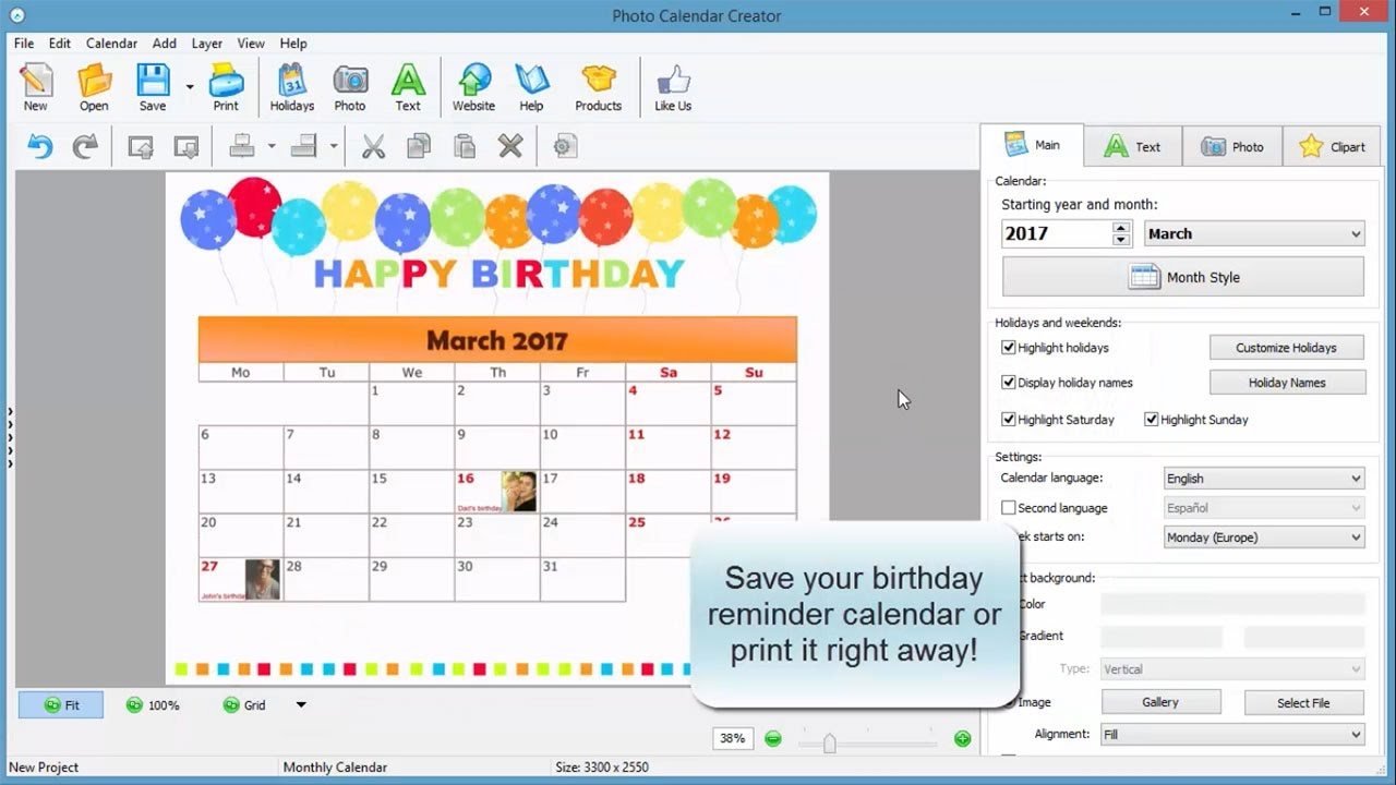 Calendar Reminder Design : How to create a birthday reminder calendar youtube