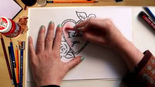 "How to draw an ""I Love You"" Hearth"