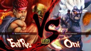 Super Street Fighter 4 Evil Ryu vs Oni Gameplay (HD 1080p)