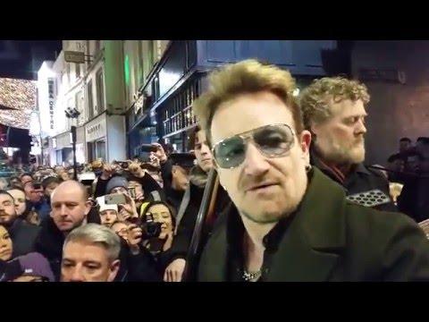 Bono (U2), Hozier, Kodaline, The Script, Glen Hansard Grafton Street busking Christmas Eve 2015
