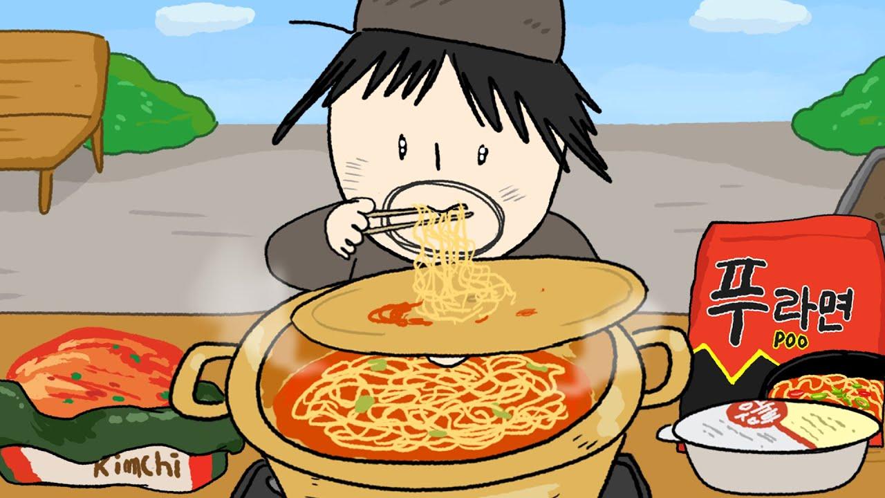 야외에서 먹는 신라면 애니먹방 / Ramen, Kimchi Mukbang Animation ASMR /foomuk