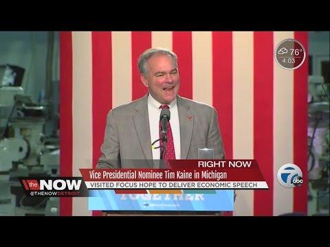 Democratic vice presidential nominee Tim Kaine speaks in Detroit