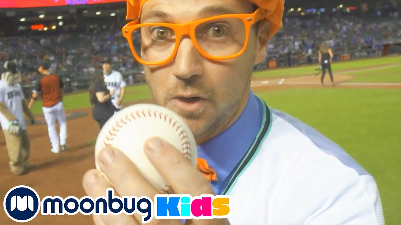 BLIPPI Visits a BASEBALL Stadium! Learn | ABC 123 Moonbug Kids | Educational Videos for Kids