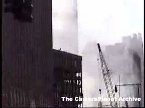 At Ground Zero, shot of blown out windows of adjacent...