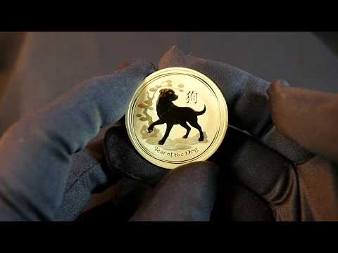 Close up look at 2018 Year of the Dog Australian Lunar bullion coins