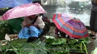 Cherrapunji Market with fresh fruit and LOTS of rain and umbrellas!