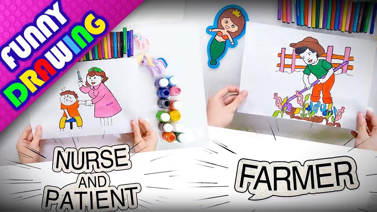 DIY - How to draw a nurse and farmer easy - Dạy bé vẽ và tô màu