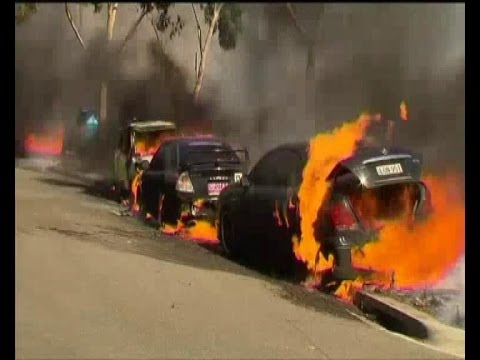 AUSTRALIA FIRES A Grass Fire Burns Out Of Control Near Sydney Olympic Park