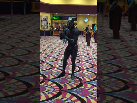 Black Panther dancing at the movie premiere