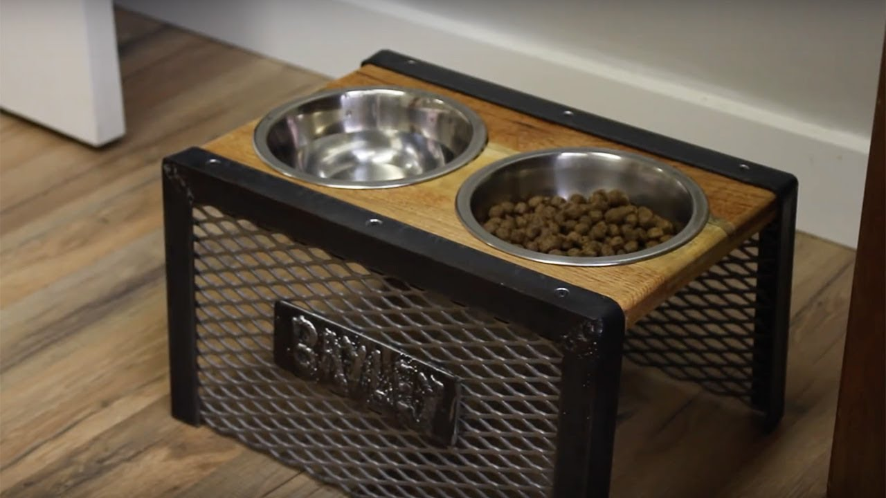 Diy Industrial Raised Dog Bowl Holder Reclaimed Pallet