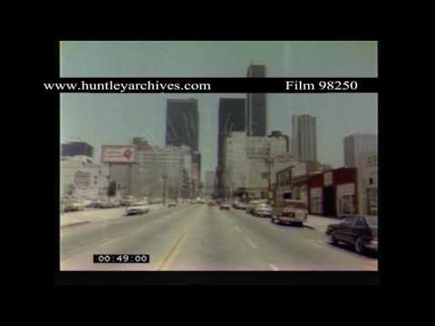 Los Angeles from a Rolls Royce, 1970's.  Archive film 98250