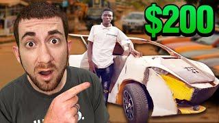 HE BUILT THIS CAR for 200 w Scrap Metal GHANA