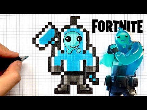 Tuto Dessin Skin Gluant Bleu Fortnite Pixel Art Youtube