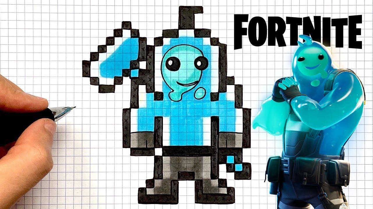 Tuto Dessin Skin Gluant Bleu Fortnite Pixel Art