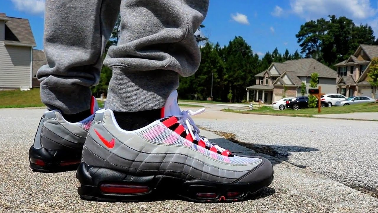 new concept 88a54 4b9c4 AIR MAX 95 OG SOLAR RED ON FEET!!!