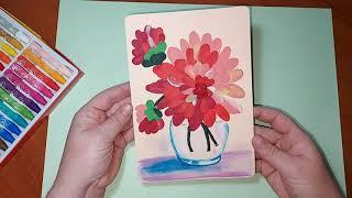 Осенние цветы. Георгины в вазе. Учимся рисовать цветы пластилином.Детские поделки с пластилина.