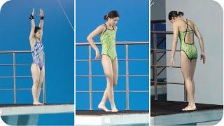 고소공포주의 여자 중학교부 다이빙 경기 지상 10미터