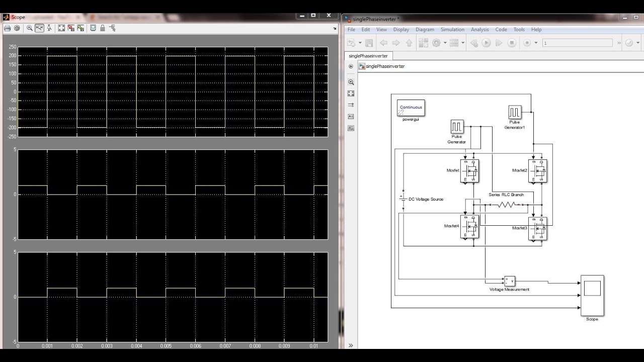 Simulink Model of Single Phase Inverter / Matlab simulation of Inverter