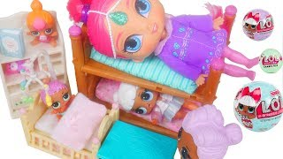 Don't Wake Shimmer and Shine LOL Surprise Dolls Morning Routine Barbie Wakes Up Bully Slumber Party!